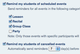 Automatic Lesson Reminder Emails to Students