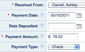 Record payments received
